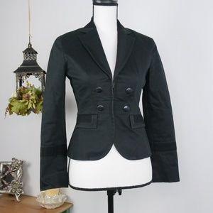 LOFT Blazer Coat Black Military Style Sz 0P